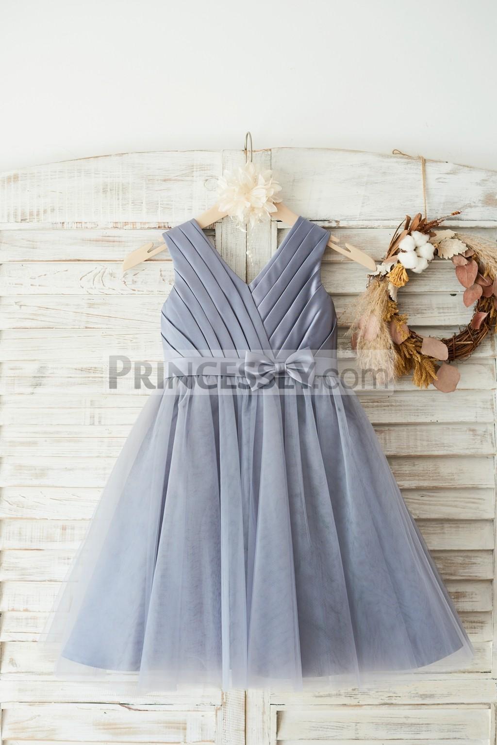 Pleated satin tulle wedding flower girl dress