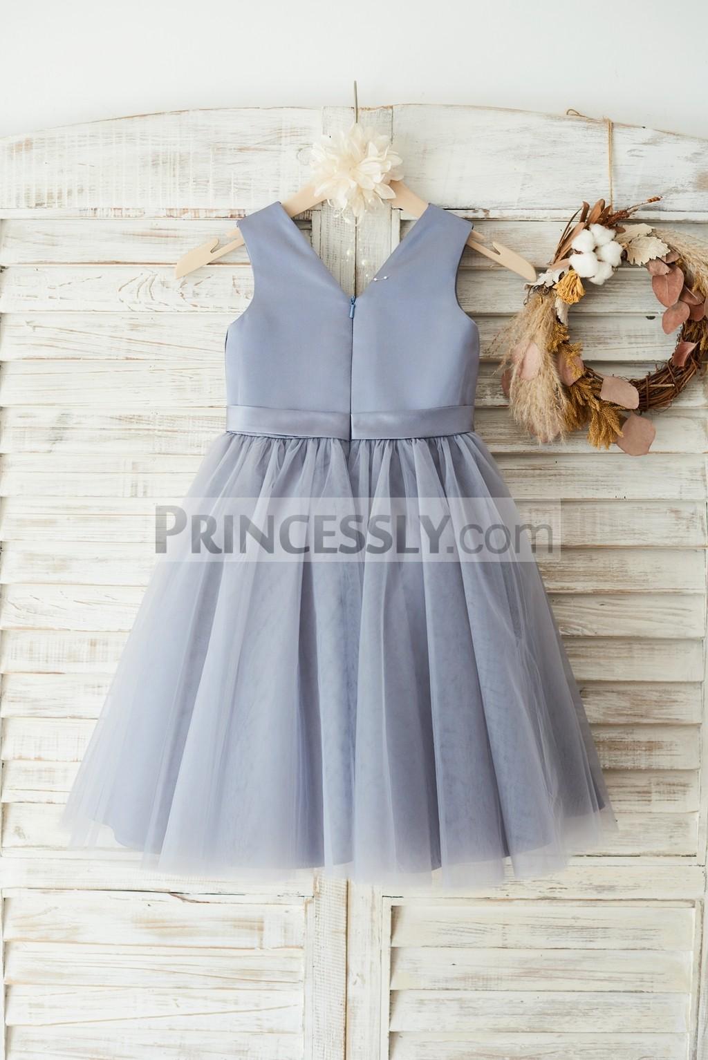 V neck grey tulle skirt wedding party little girl dress
