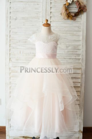 4f696bcb48bcb Cap Sleeves Lace Pink Tulle Sweetheart Horsehair Hem Flower Girl Gown