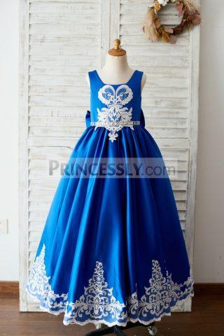 Princessly.com-K1003651-Royal-Blue-Satin-Square-Neck-Wedding-Party-Flower-Girl-Dress-with-Lace-Trim-31