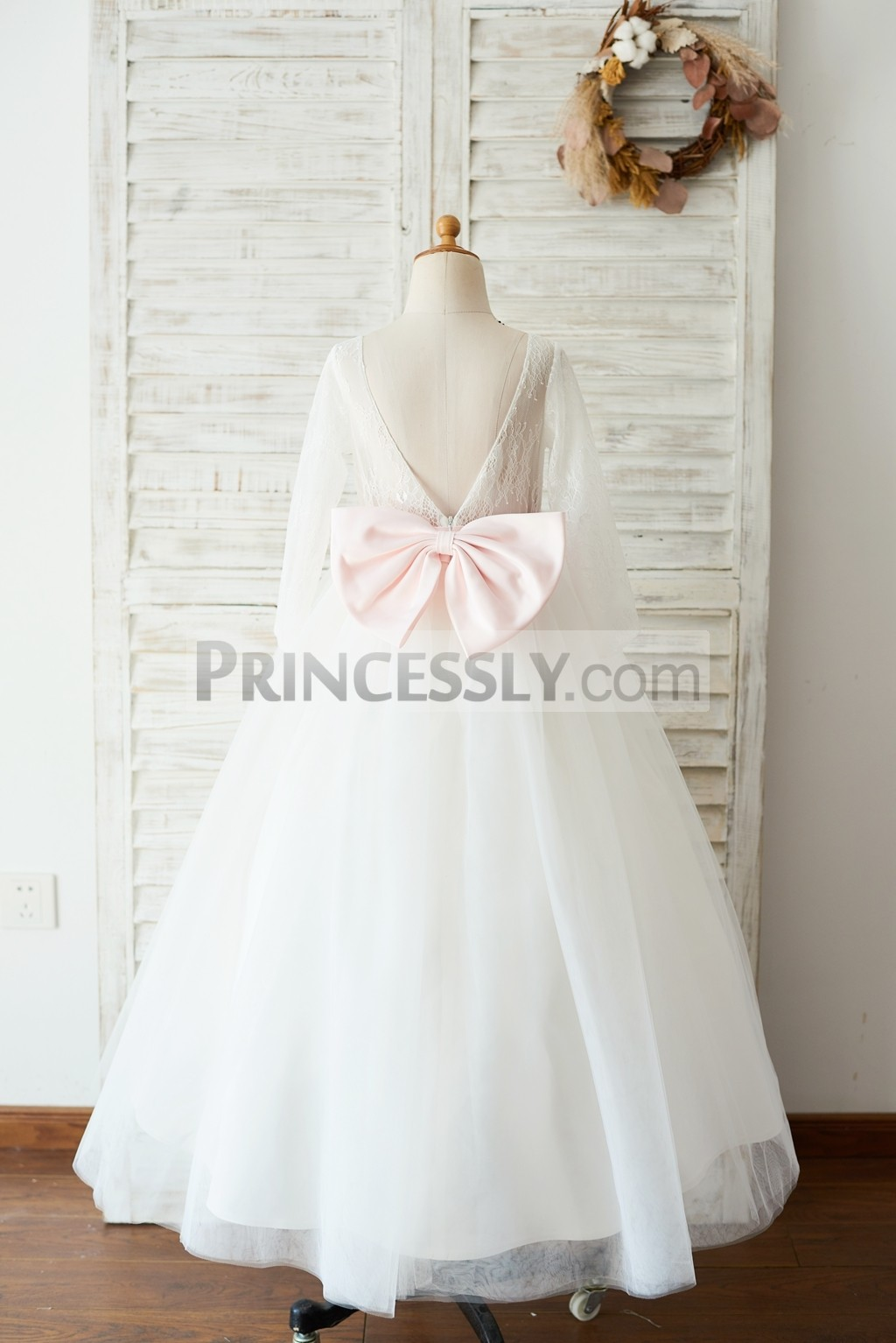 Ivory lace long sleeves tulle floor length wedding flower girl dress