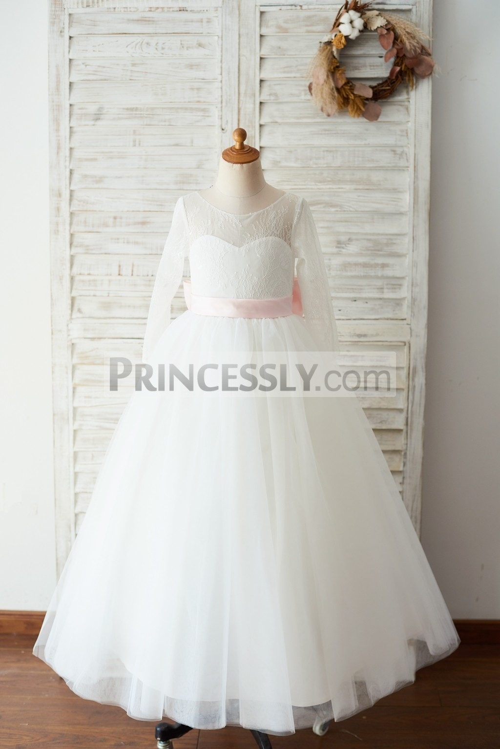 Sheer neck inside sweetheart lace tulle ivory wedding flower girl gown