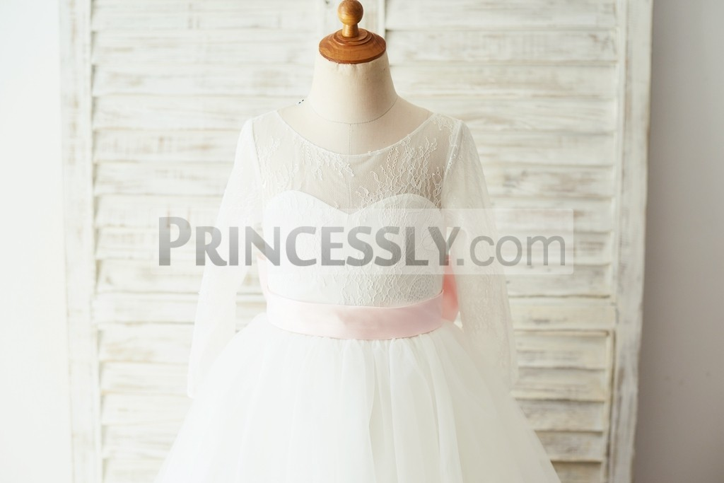 Sheer lace long sleeves bodice with pink belt