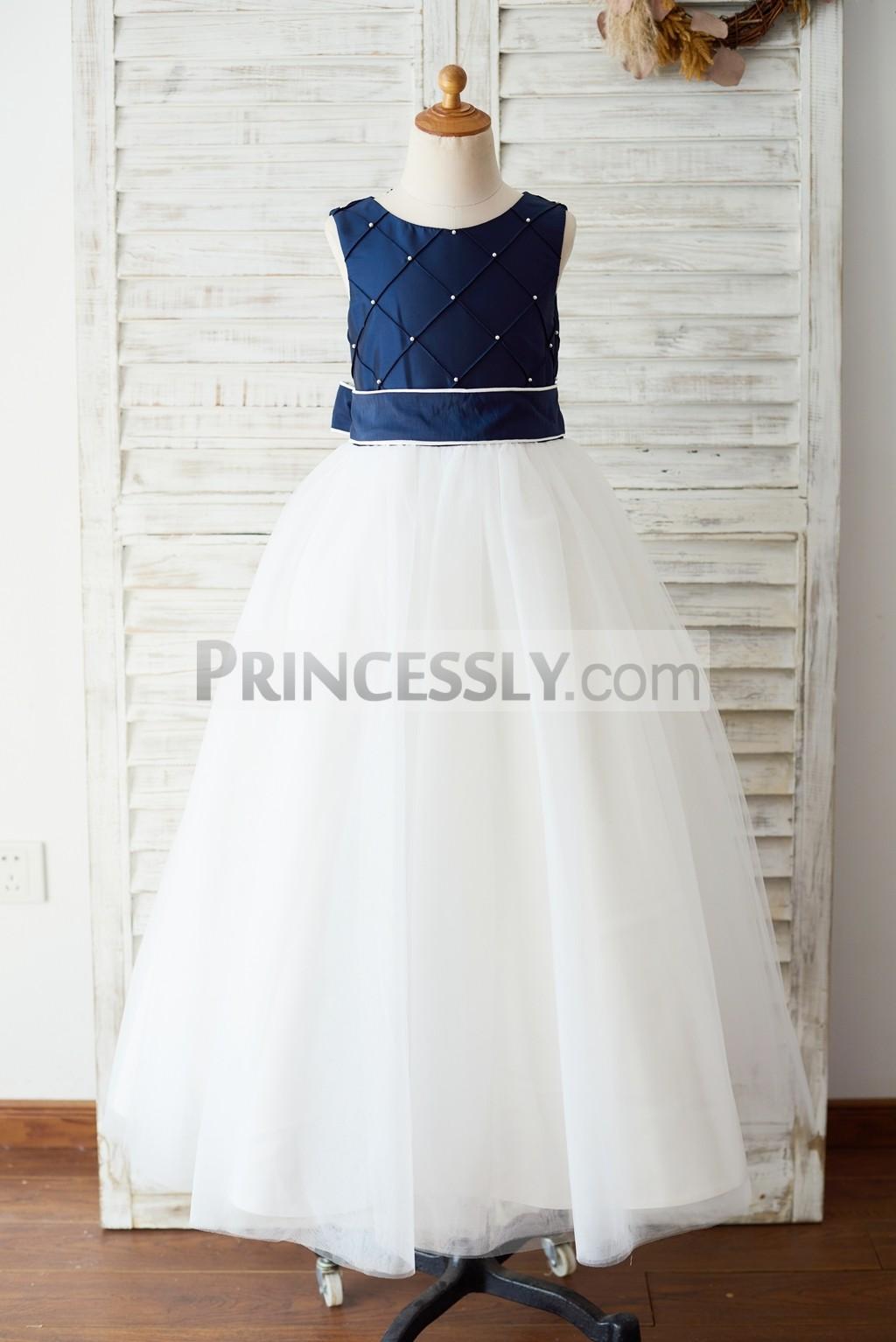 Navy blue taffeta ivory tulle flowr girl dress