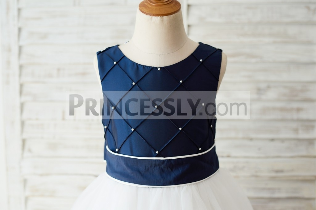 Check pattern navy blue taffeta with pearls bodice with sash