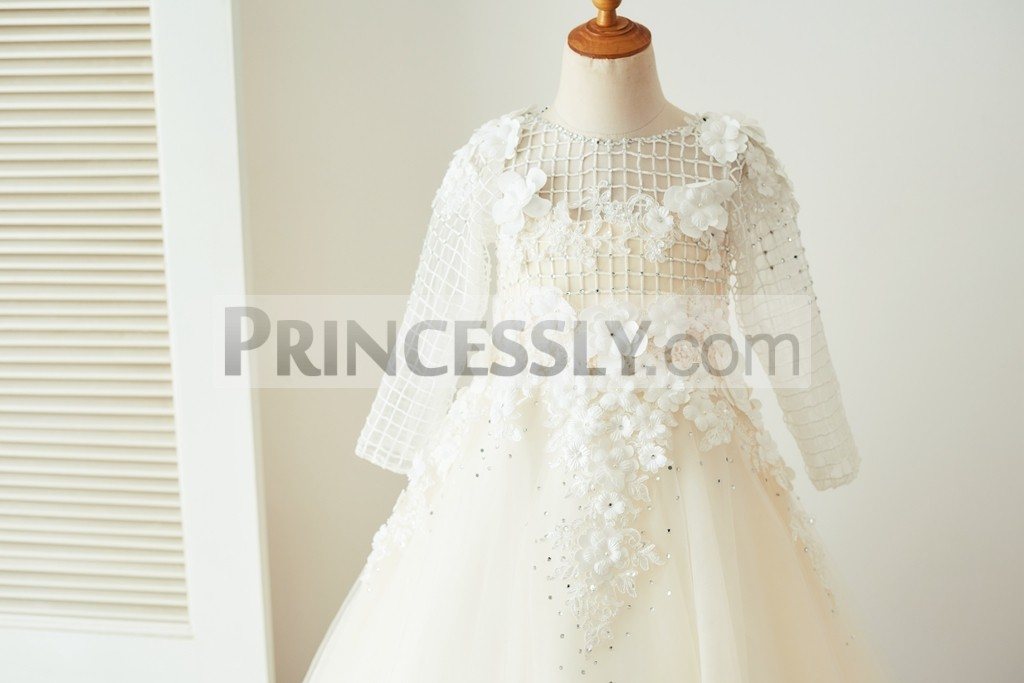 Long sleeves beaded flowers organza bodice
