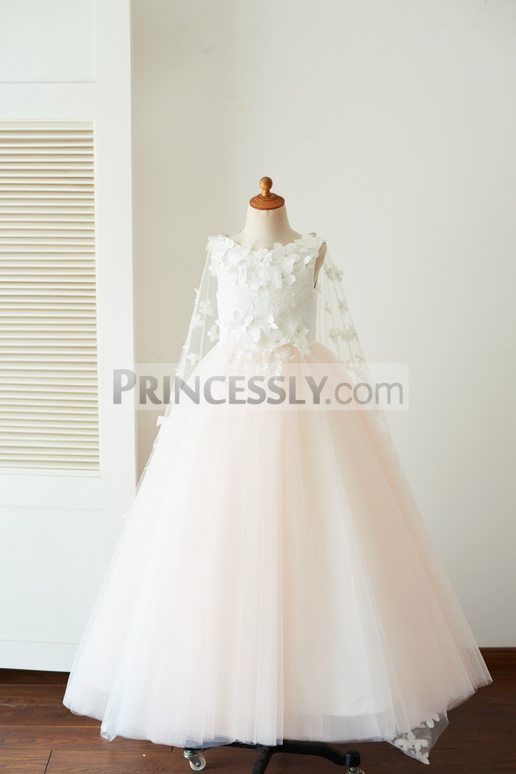 Ivory lace pink tulle long flower girl dress with cape