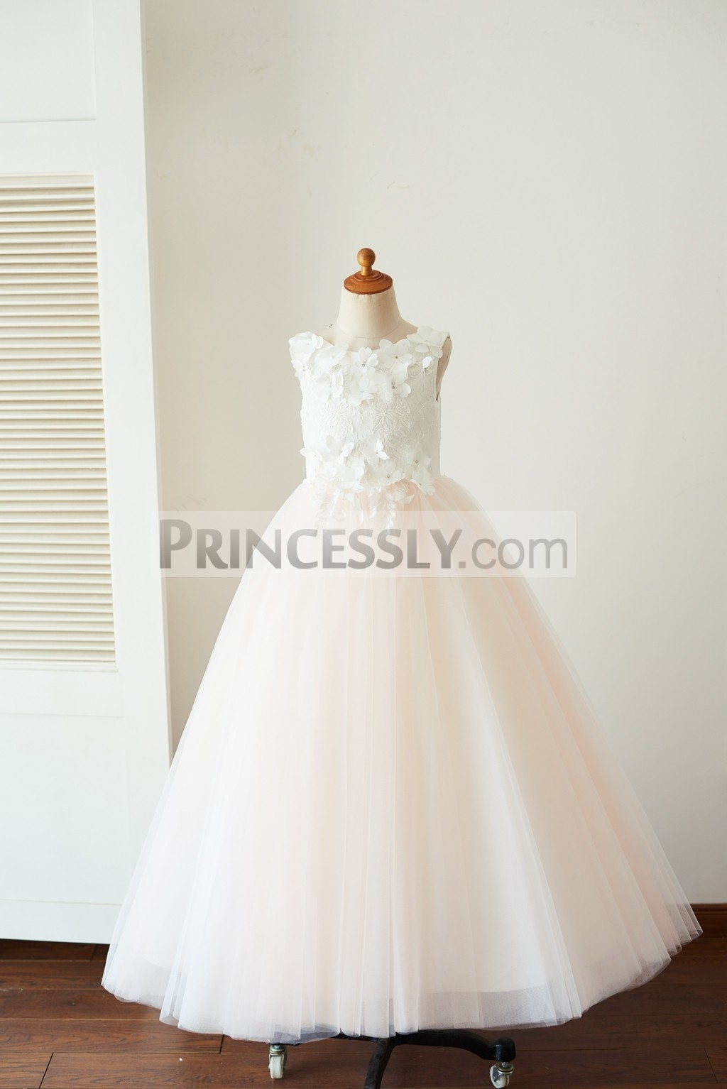 3D flowers ivory lace pink tulle floor length wedding baby girl dress