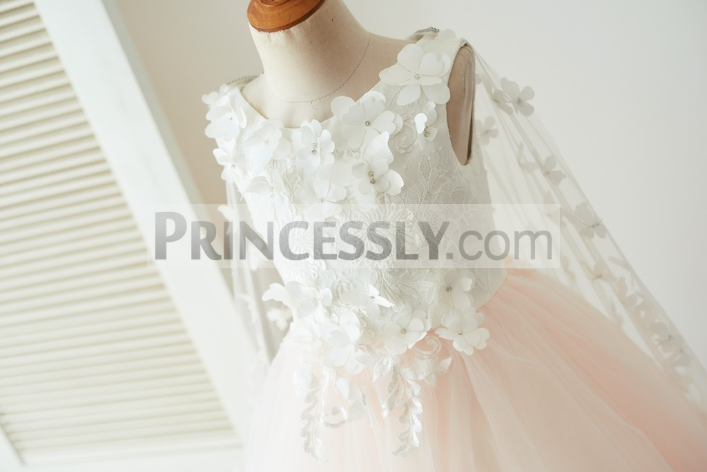 Ivory lace bodice with 3D flowers