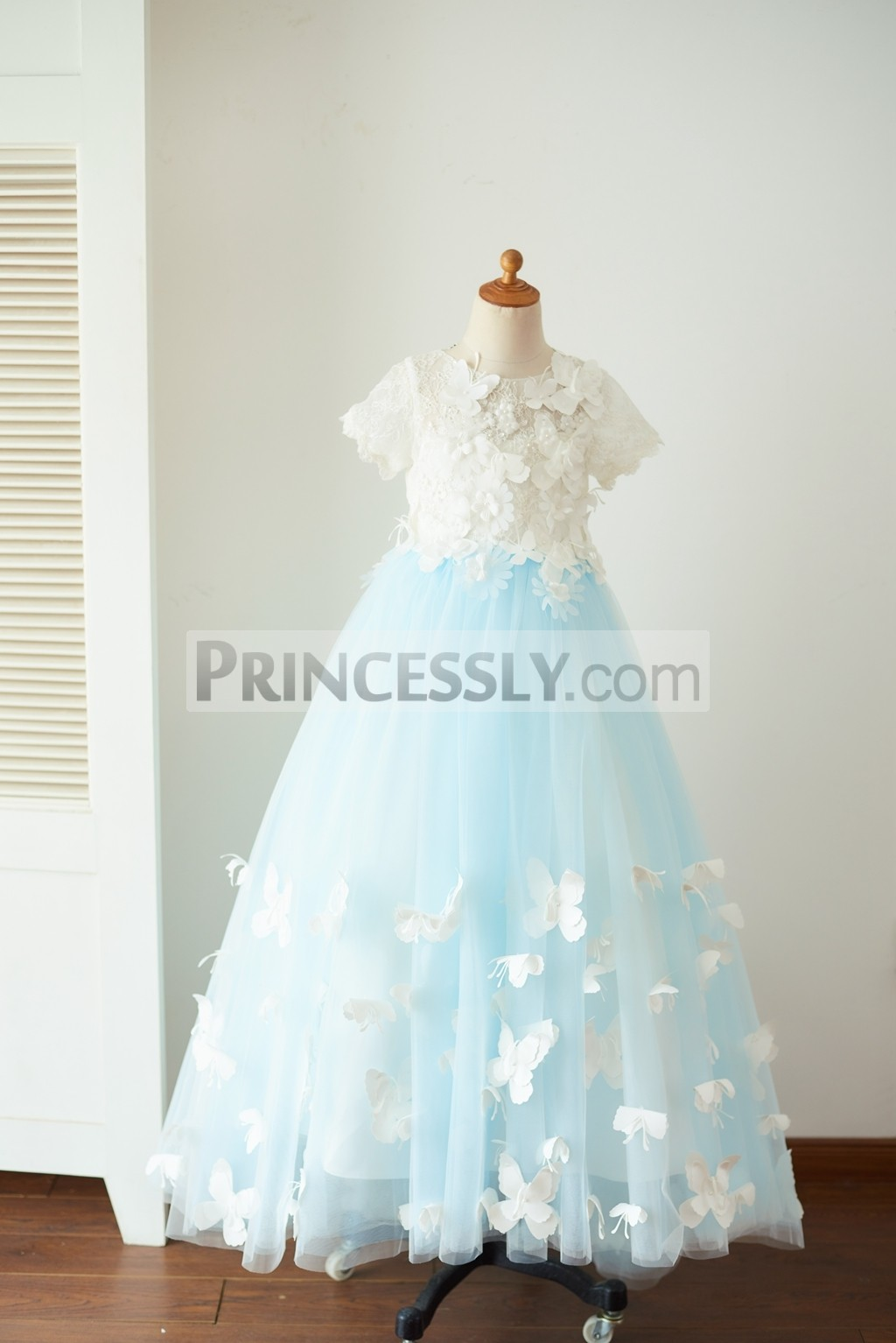 Ivory lace blue tulle wedding party long flower girl dress