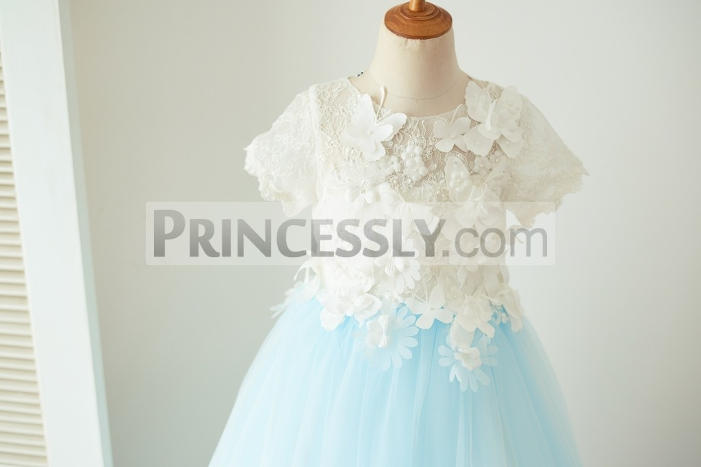 Short sleeves lace bodice with beaded flowers and butterflies