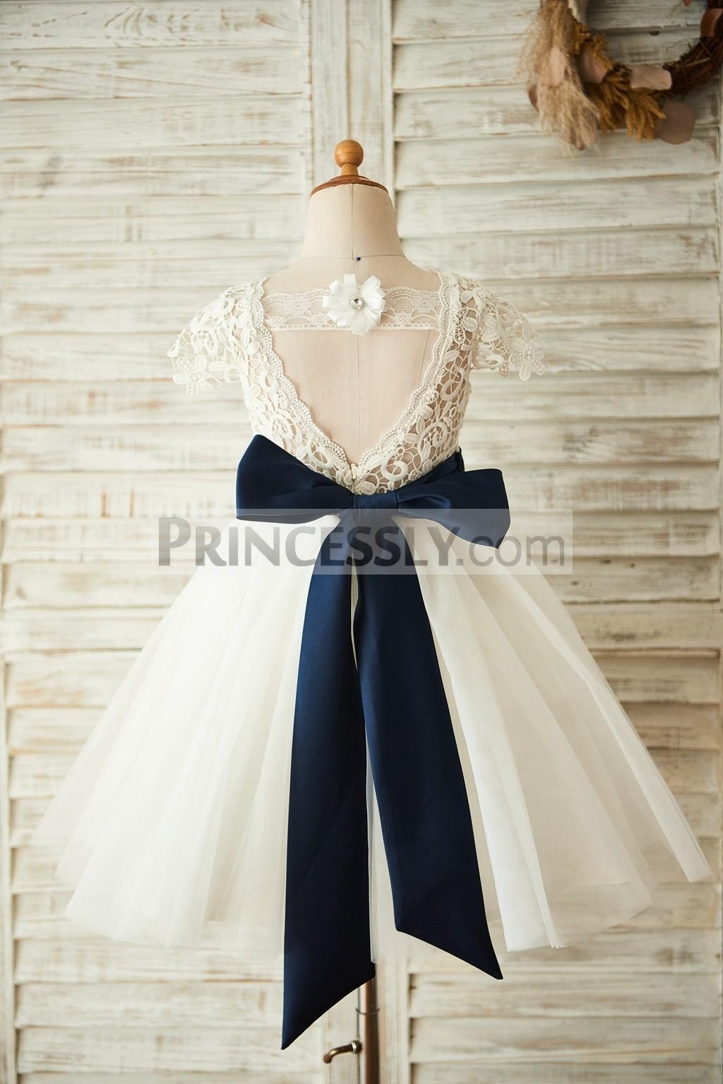 Lace strap deep V back wedding baby girl dress