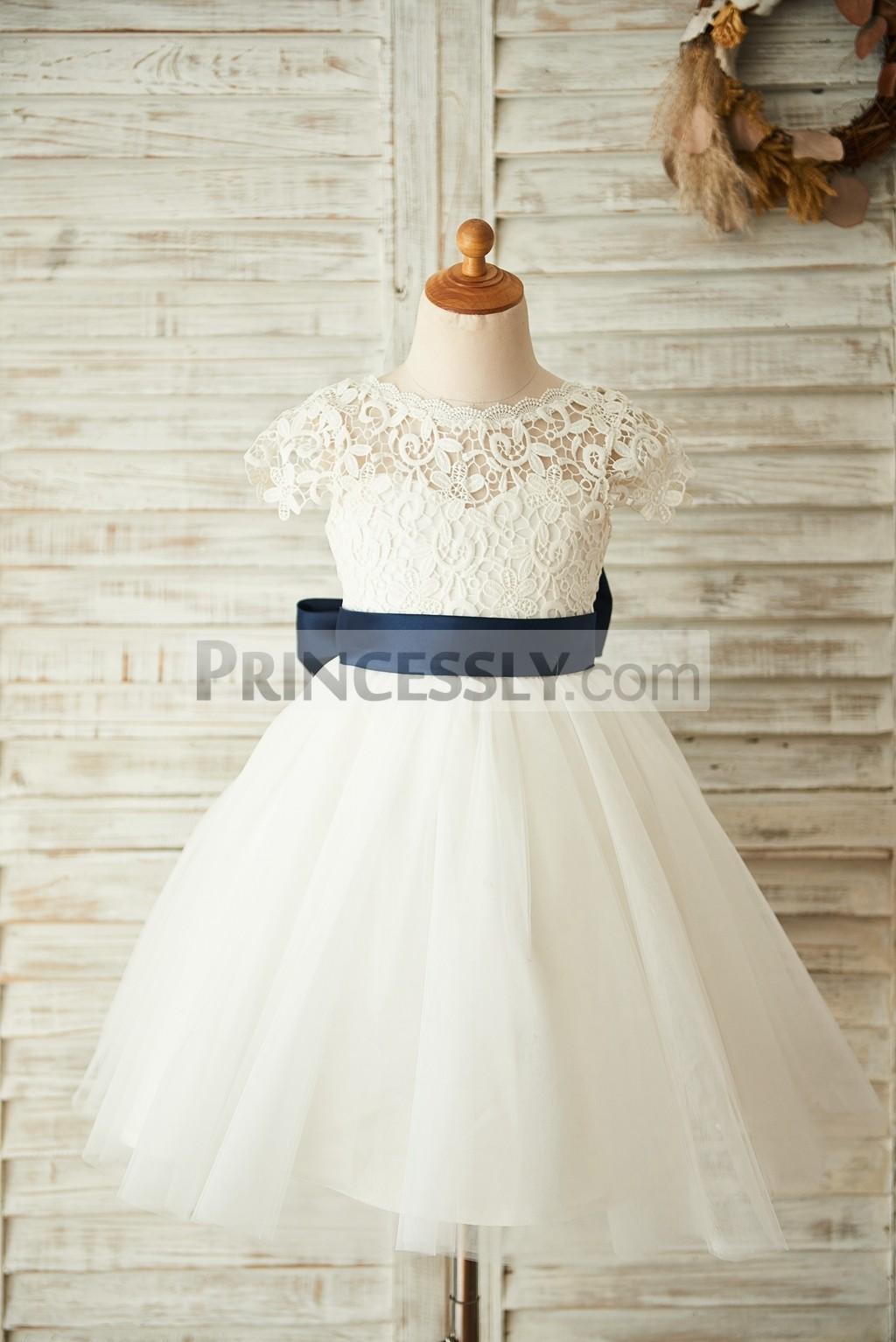 Short sleeves lace overlay tulle ivory princess flower girl dress