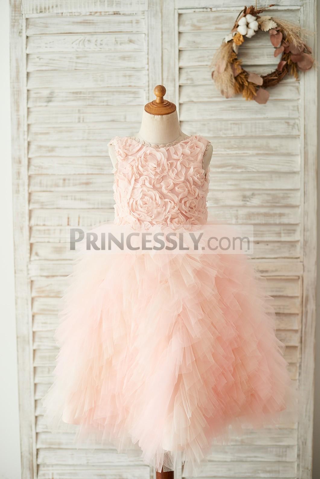 Rosette tiered ruffle tulle flower girl dress