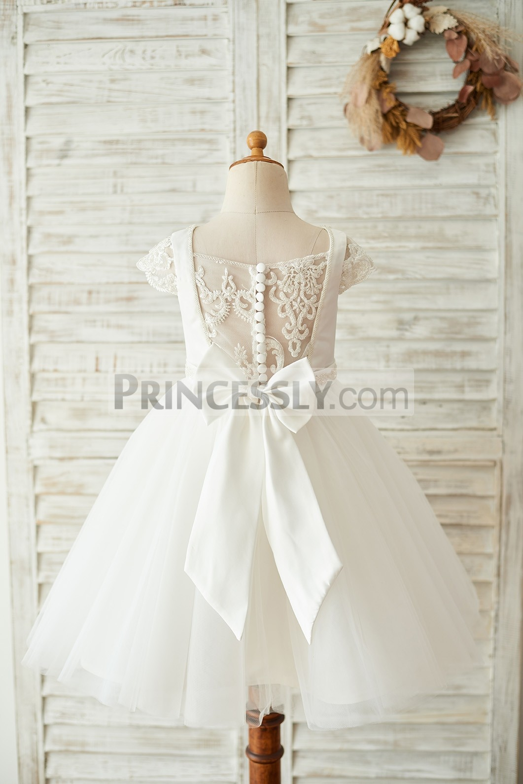 Sheer lace button back tulle ivory wedding little girl dress