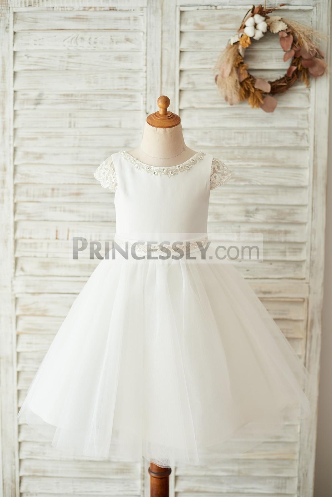 Ivory satin tulle wedding flower girl dress