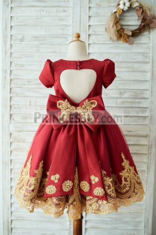 Princessly.com-K1003673-Red-Satin-Gold-Lace-Short-Sleeves-Keyhole-Back-Wedding-Flower-Girl-Dress-with-Bow-32