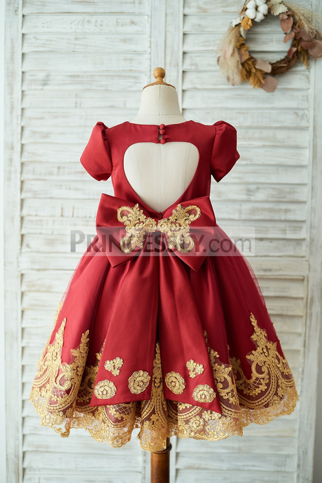 Keyhole satin tulle red wedding party little girl dress