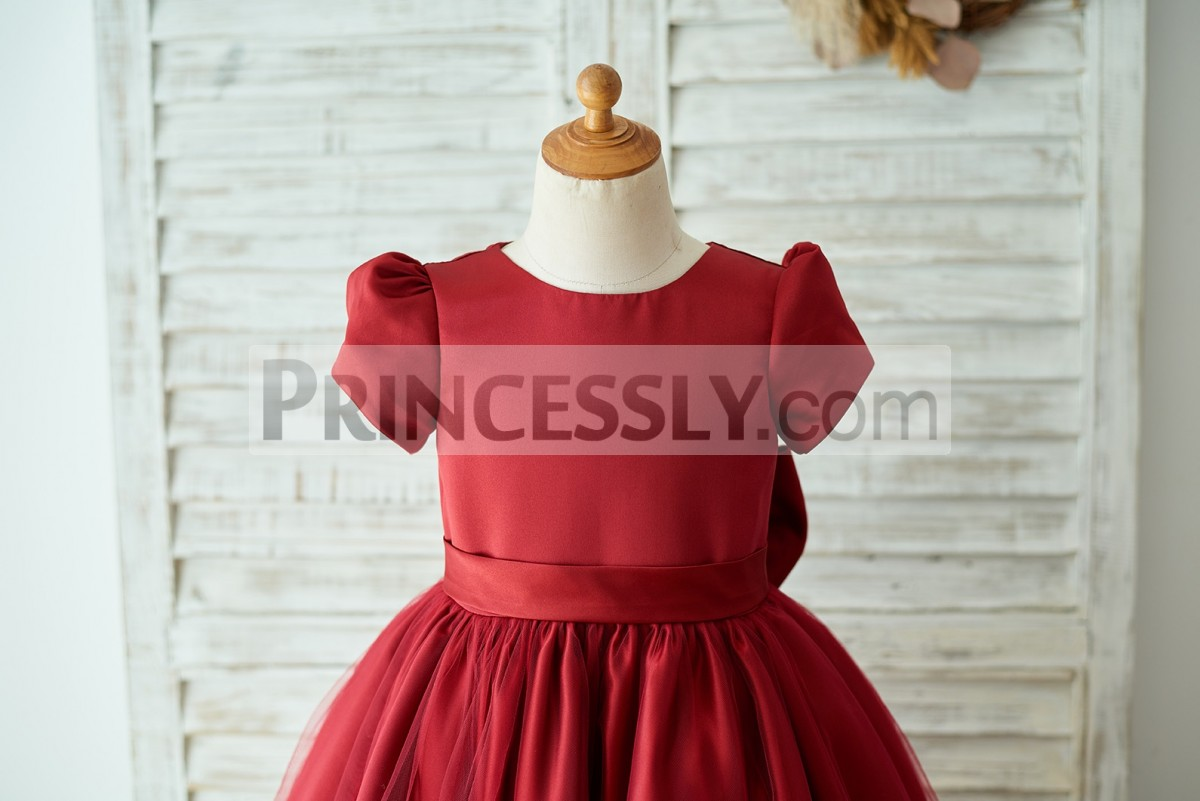 Jewel neckline short puffy sleeves satin bodice with belt