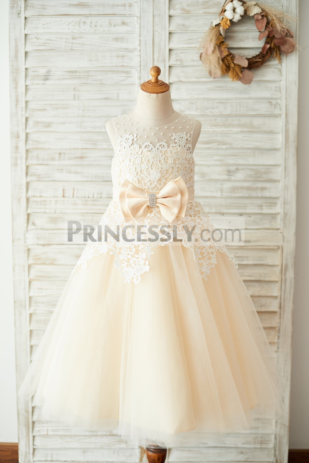 Pearls Sheer Neck Ivory Lace Overlay Champagne Tulle Wedding Flower Girl Dress