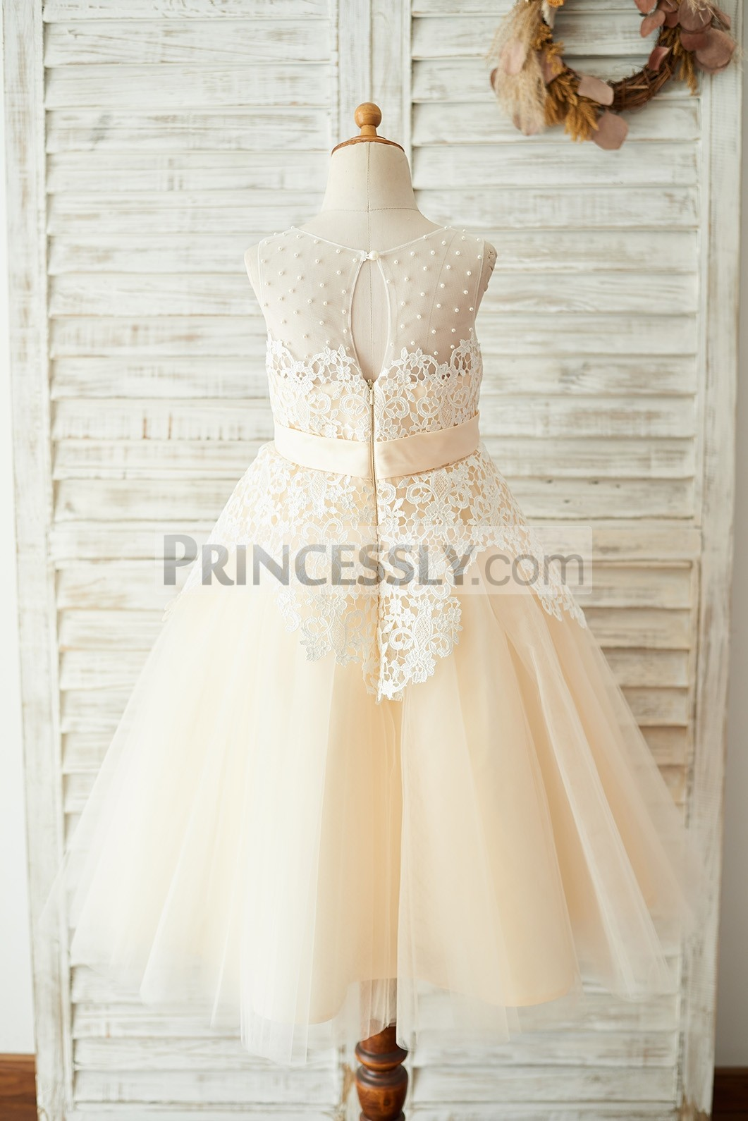 Pearls Illusion Slit Back Wedding Party Little Girl Dress