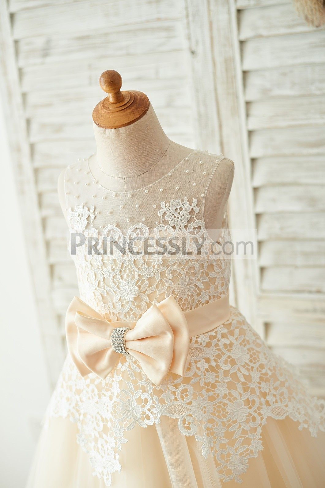 Delicate Ivory Lace Bodice with Champagne Belt