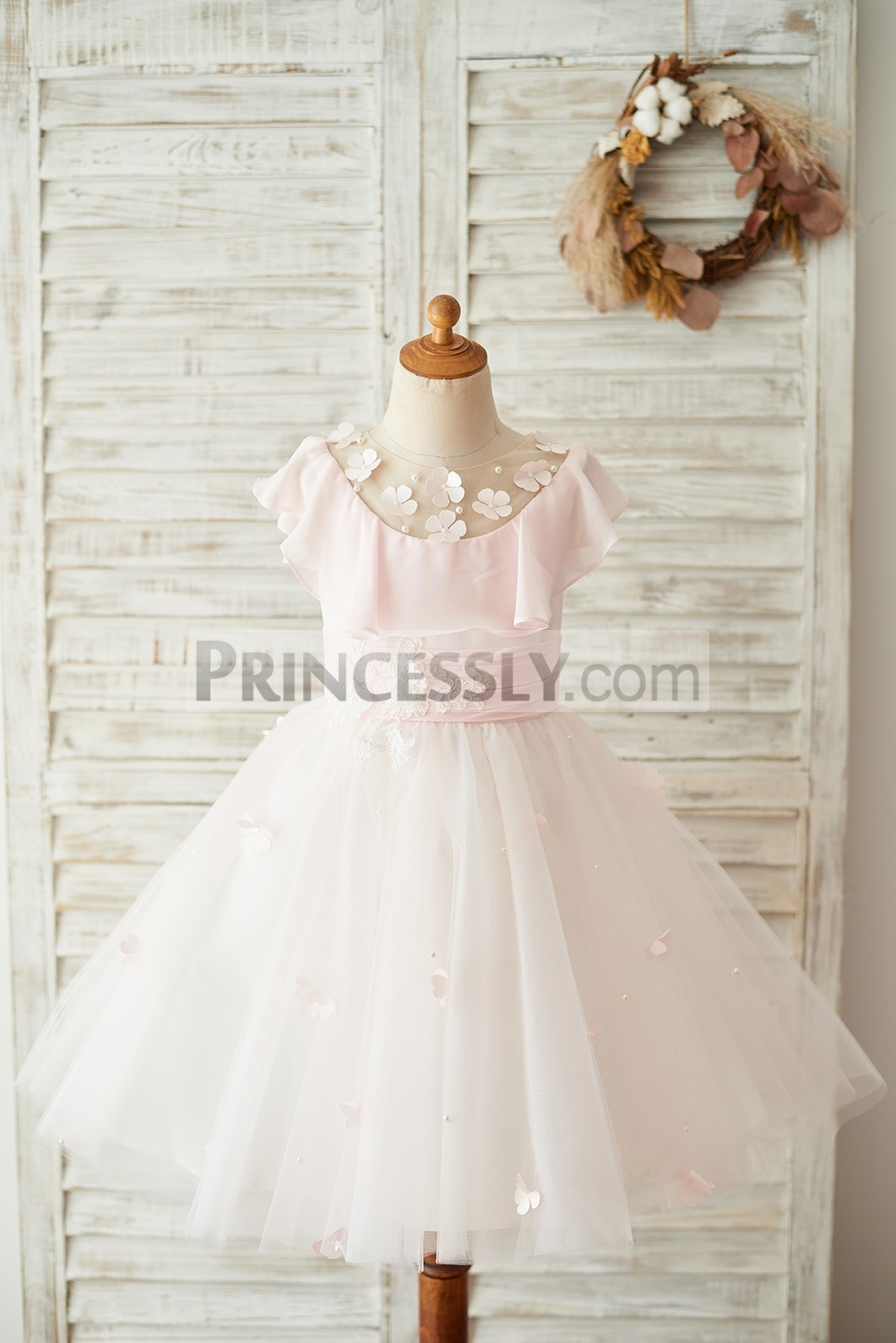 Pink Chiffon Tulle Flower Girl Dress with Handmade Flowers