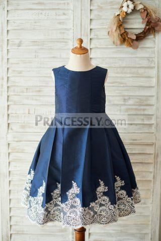 Princessly.com-K1003677-Navy-Blue-Taffeta-Silver-Lace-Wedding-Flower-Girl-Dress-31