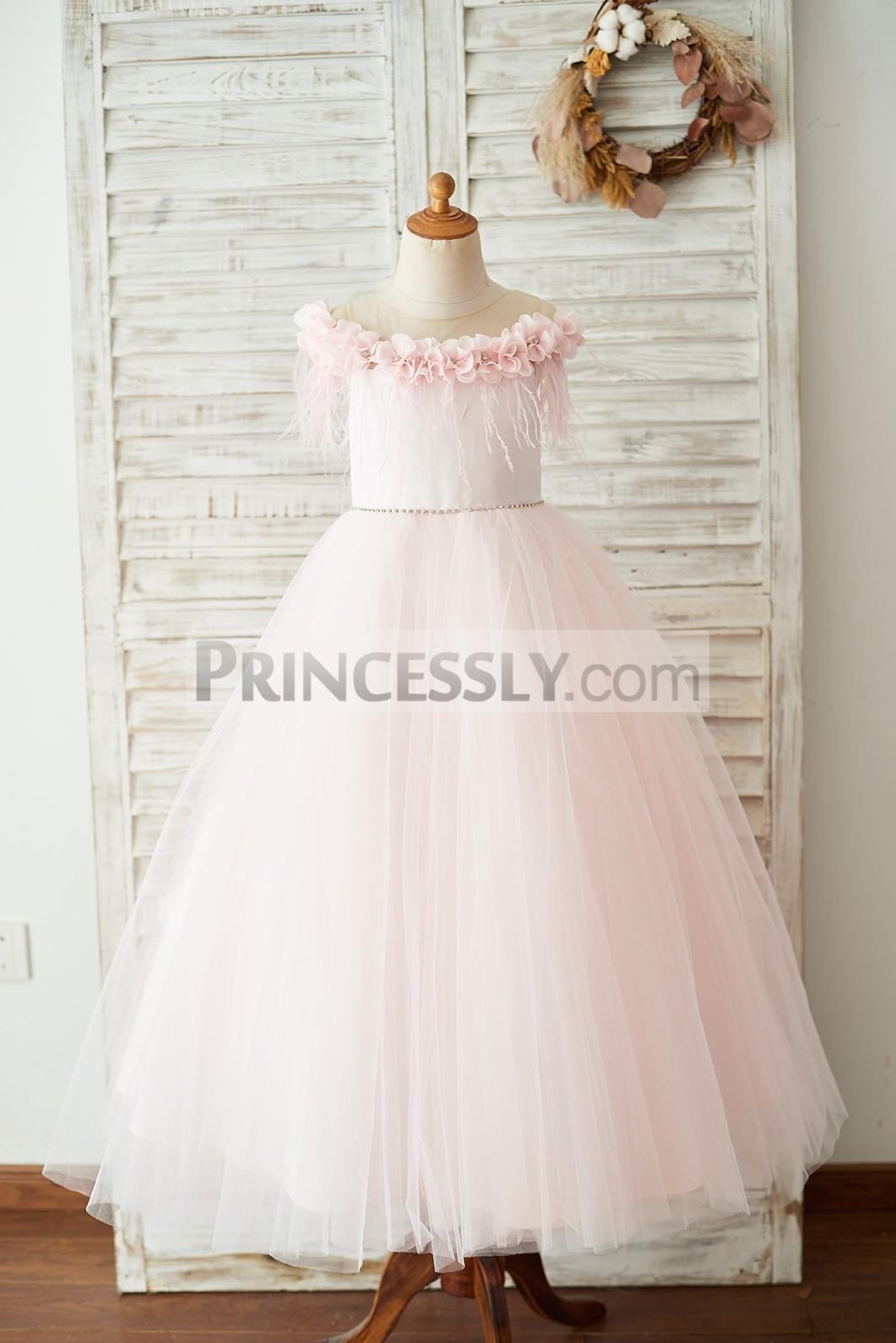 3D Flowers Off shoulder pink satin tulle wedding flower girl dress