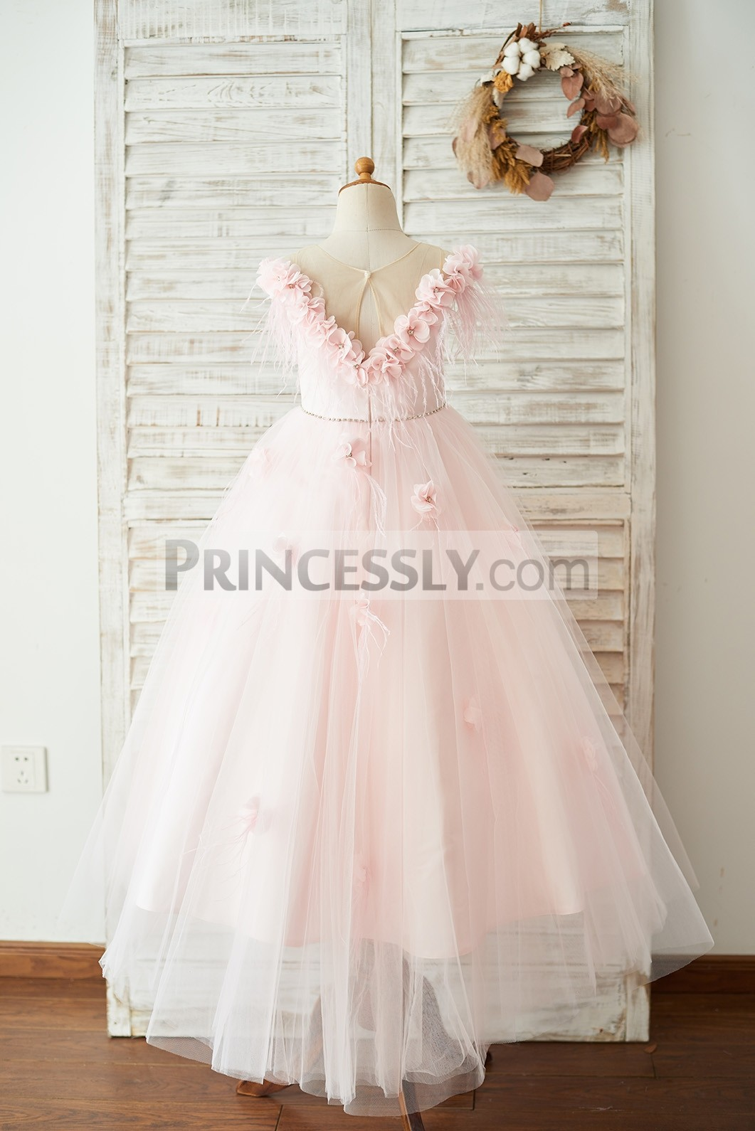 Pink Floor Length Wedding Party Little Girl Dress
