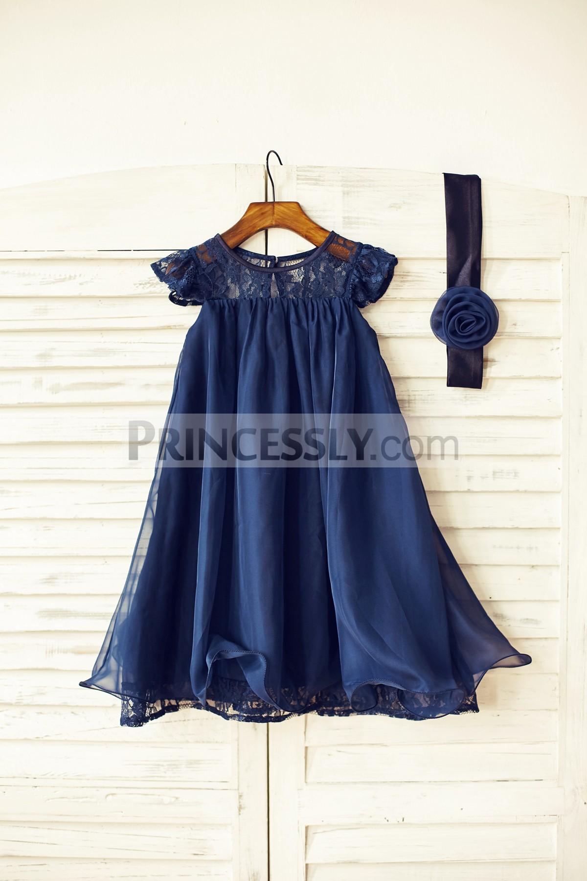 Sheer lace chiffon flower girl dress