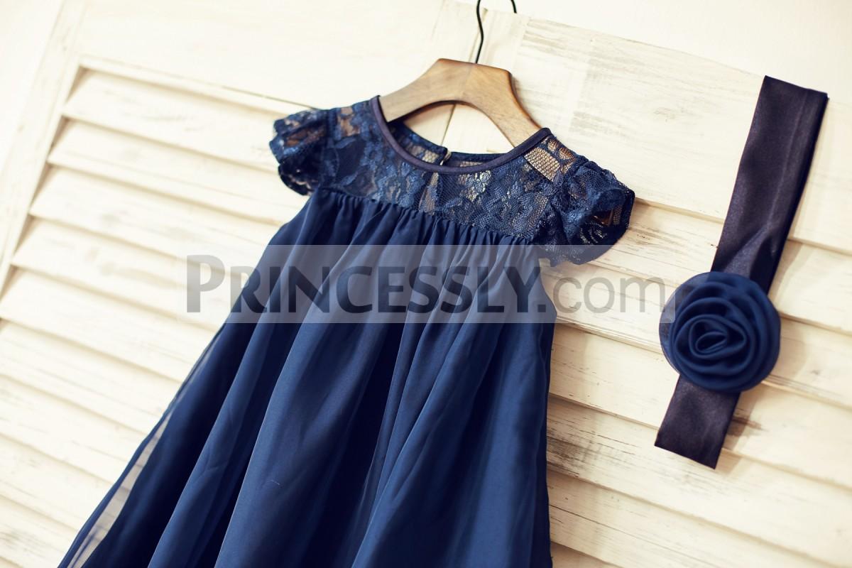 Lace chiffon dress with detachable belt