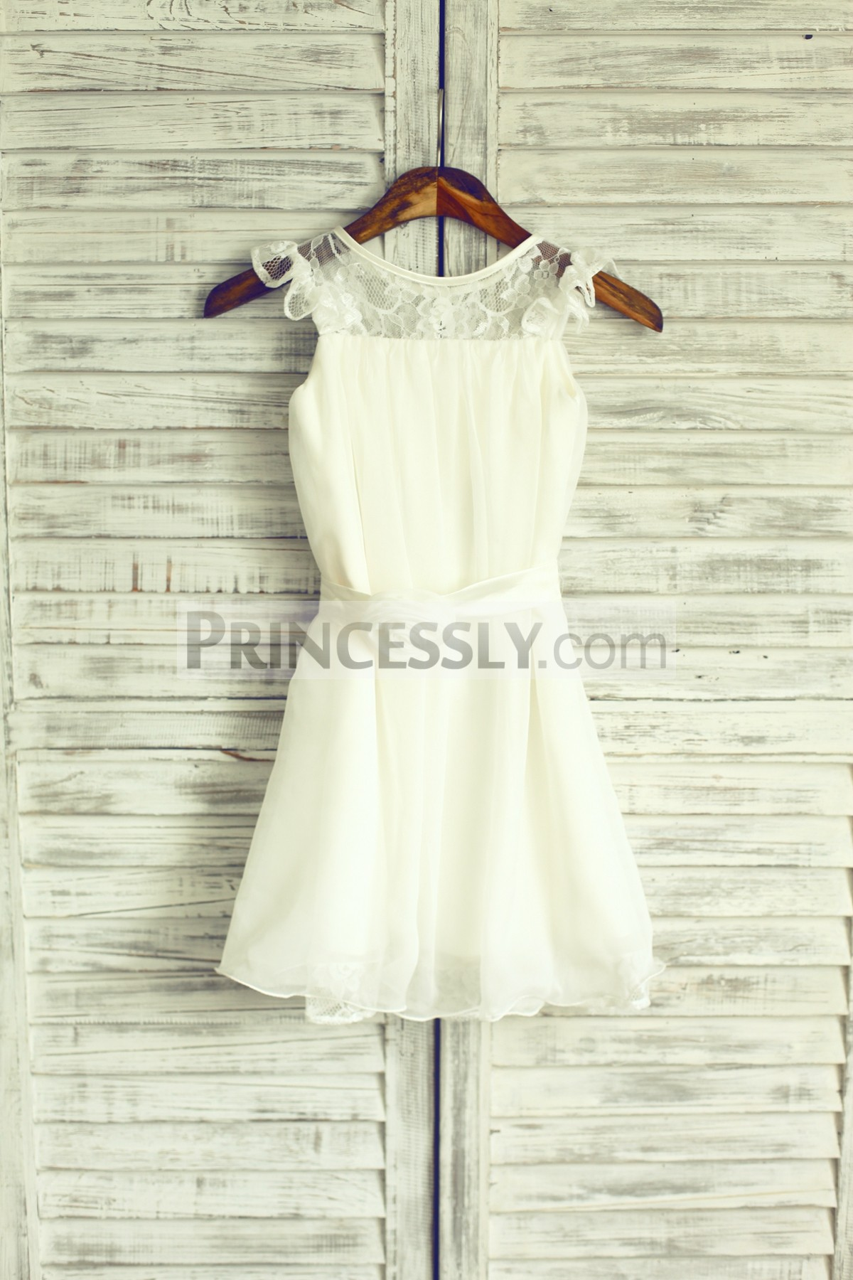 Ivory chiffon flower girl dress with lace