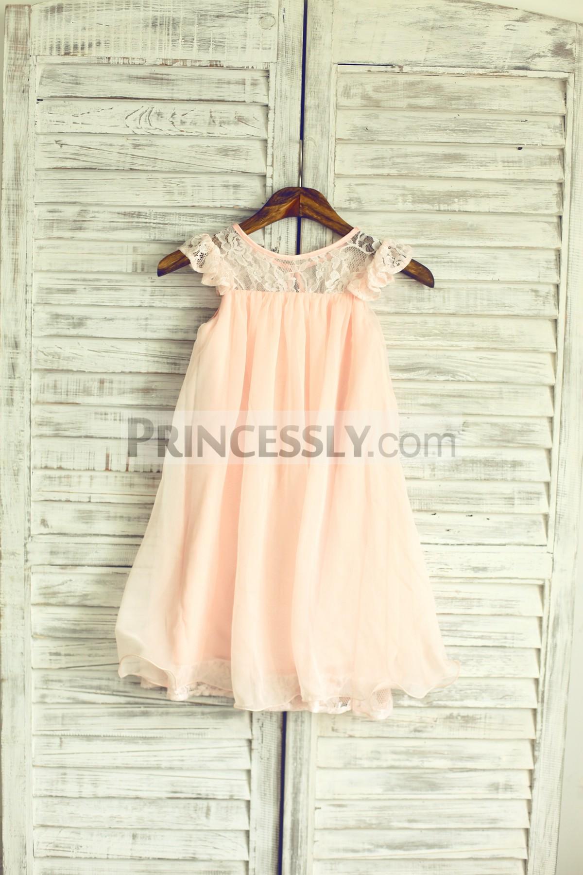 Blush pink chiffon wedding baby girl dress