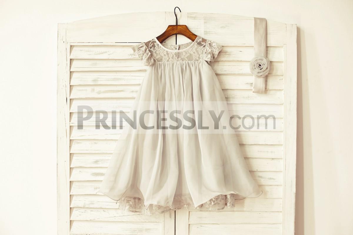 Gray chiffon flower girl dress with belt