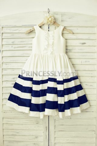 Princessly.com-K1000120-Ivory-Navy-Blue-Striped-Taffeta-Flower-Girl-Dress-31