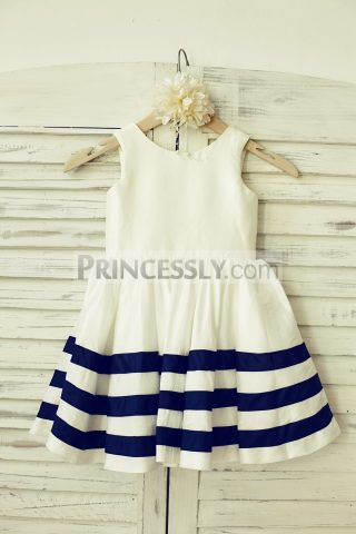 Princessly.com-K1000121-Ivory-Navy-Blue-Striped-Taffeta-Flower-Girl-Dress-w-Buttons-Back-31