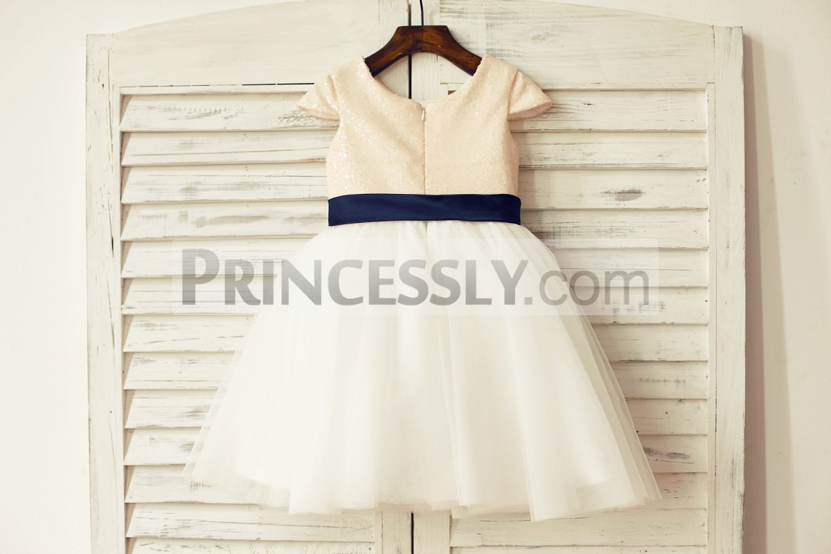 Round neckline cap sleeves sequined ivory tulle wedding baby girl dress