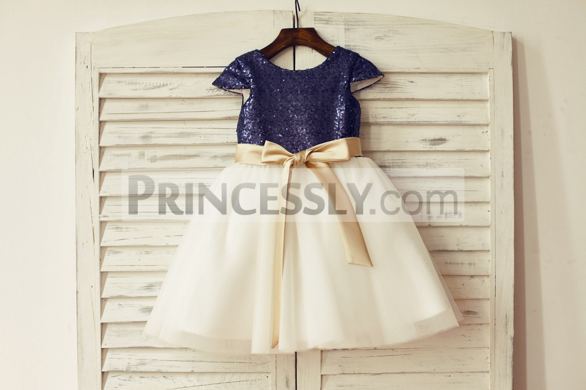 Navy blue sequins ivory tulle wedding baby girl dress