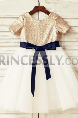 Princessly.com-K1000125-Short-Sleeves-Mate-Champagne-Sequin-Tulle-Flower-Girl-Dress-with-navy-blue-sash-31 (1)