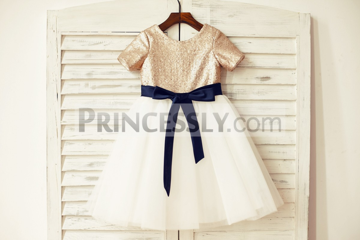 Mate champagne sequins short sleeves ivory tulle flower girl dress