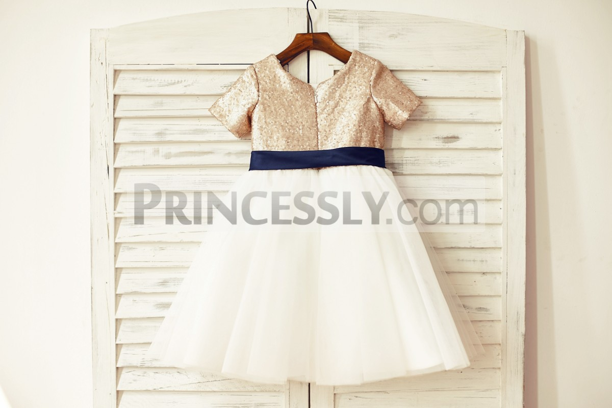 Sequined bodice ivory tulle skirt wedding baby girl dress