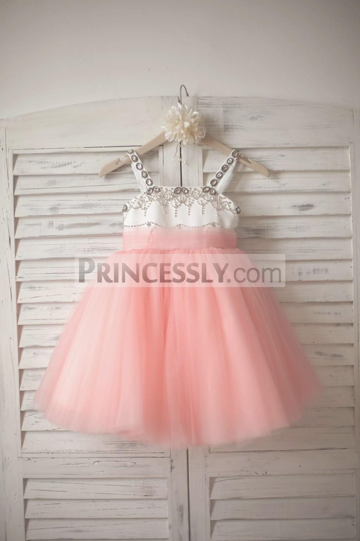 Beaded thin straps ivory satin pink tulle flower girl dress