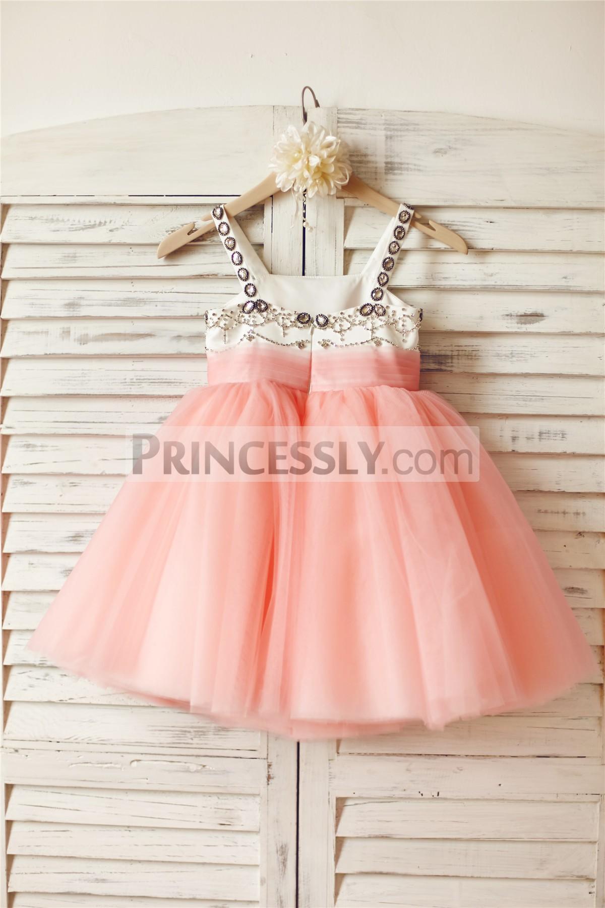 Pink tulle wedding flower girl dress