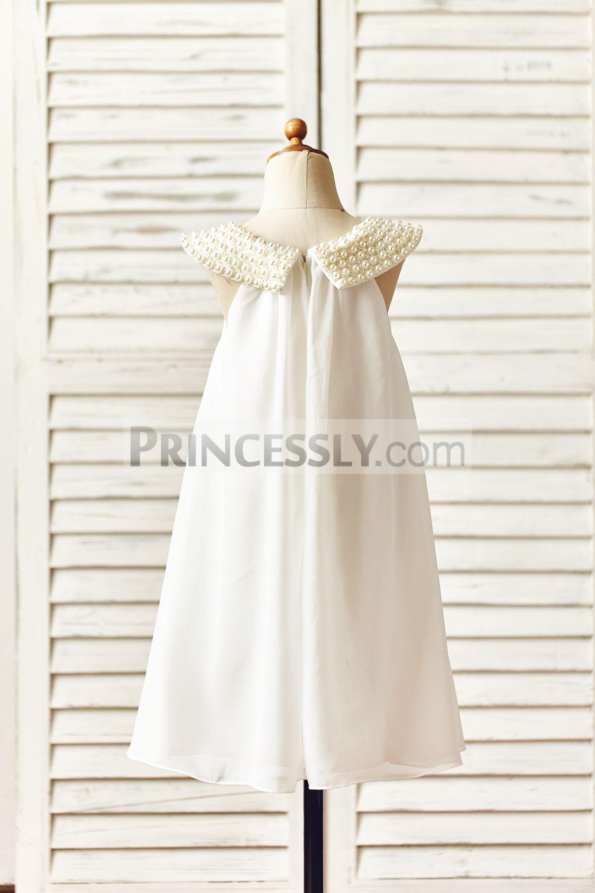 Cap neckline ivory chiffon wedding baby girl dress