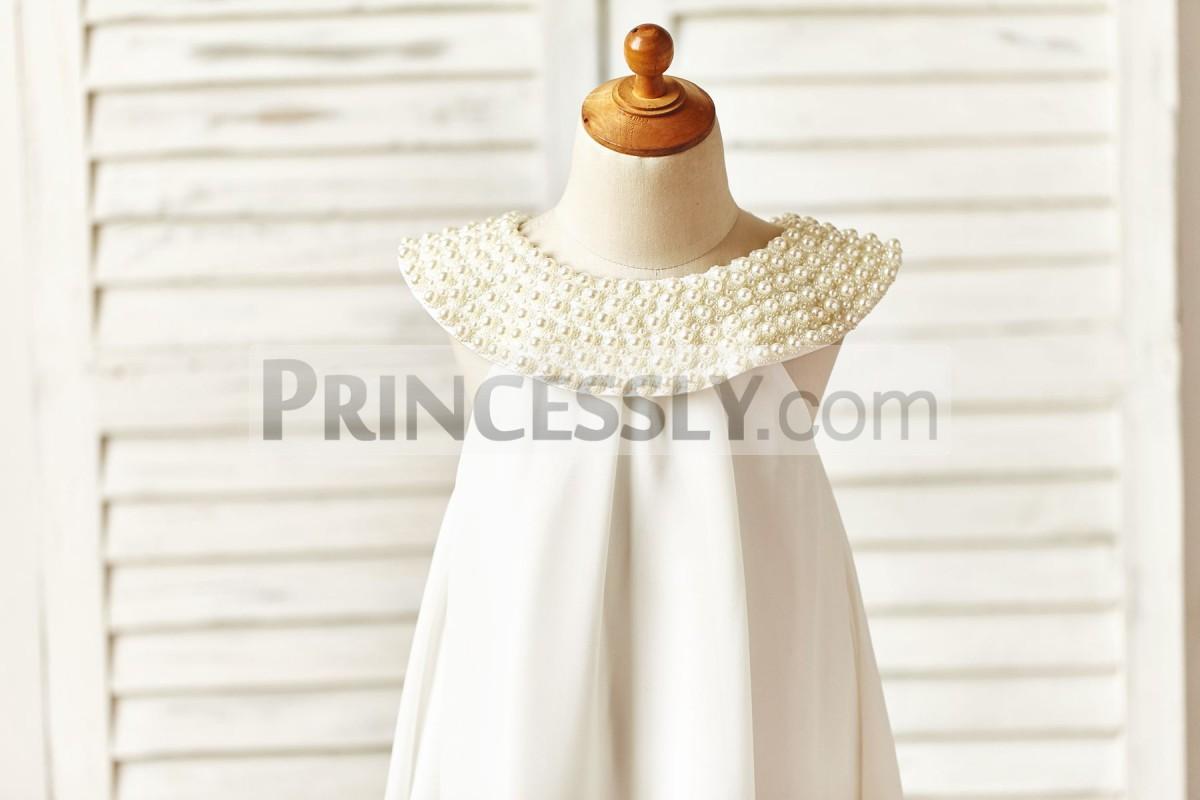 Wide cap neckline with pearls