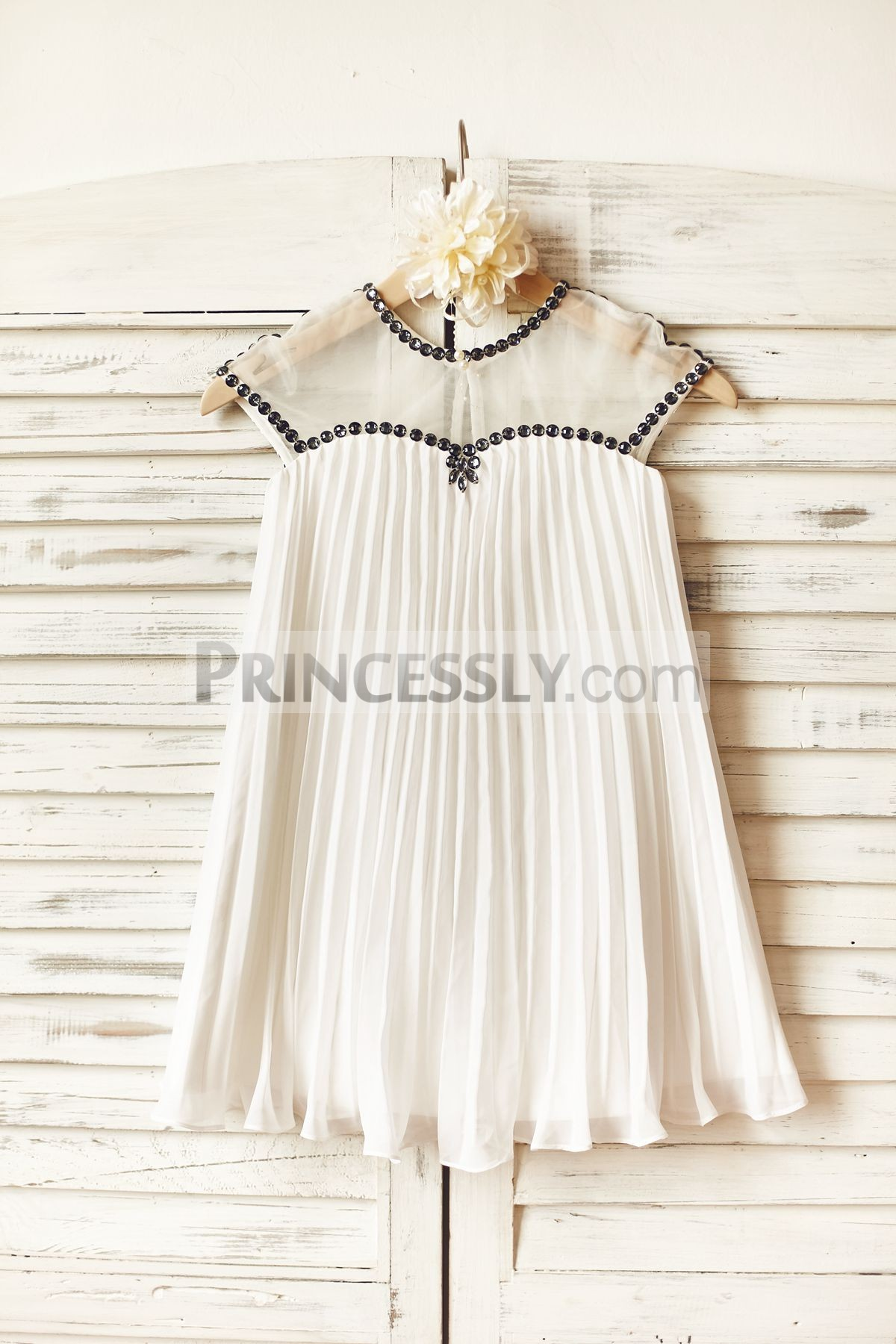 Beaded sheer neck pleated ivory chiffon flower girl dress