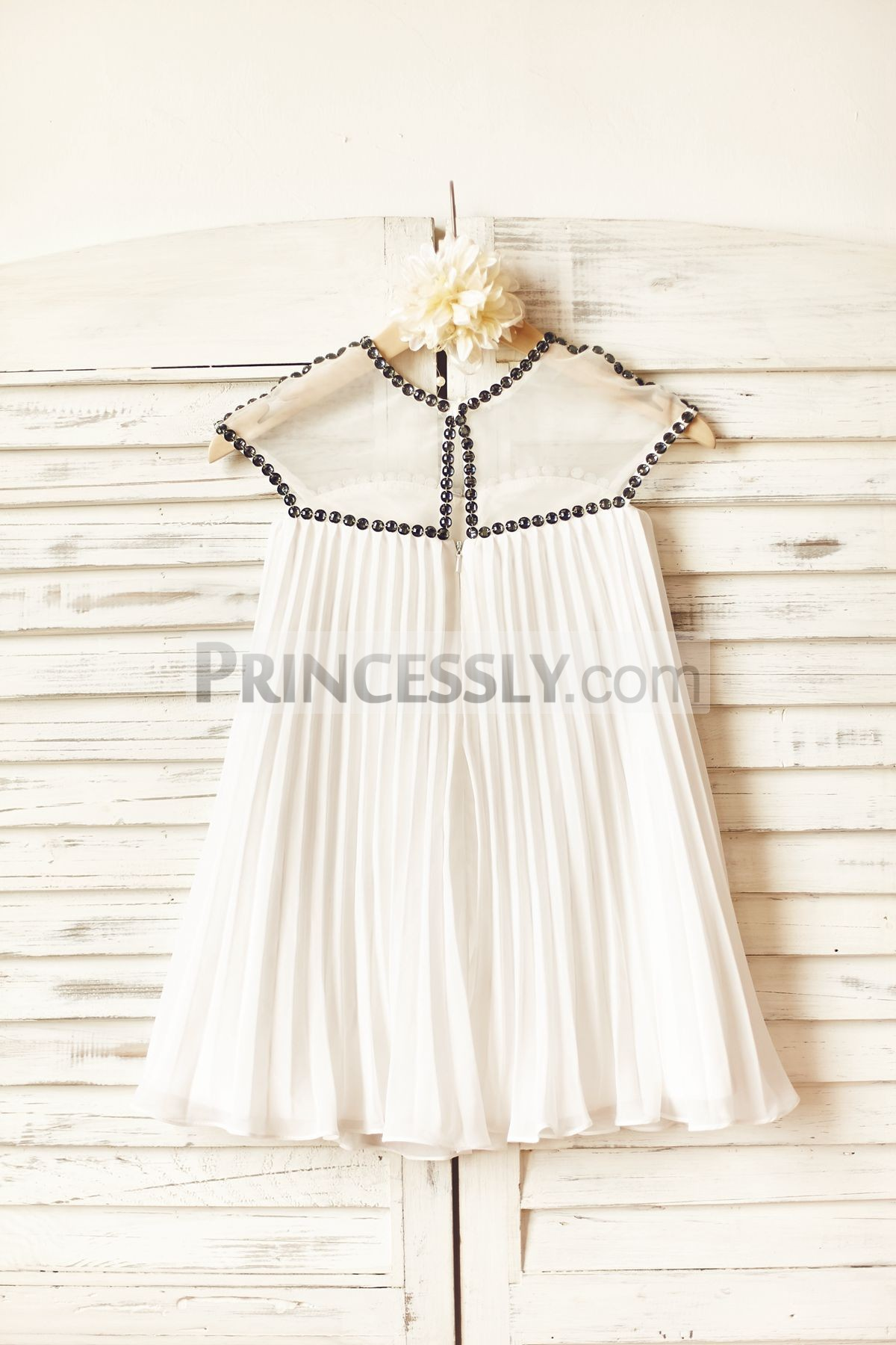 Slit on back pleated ivory chiffon boho wedding baby girl dress