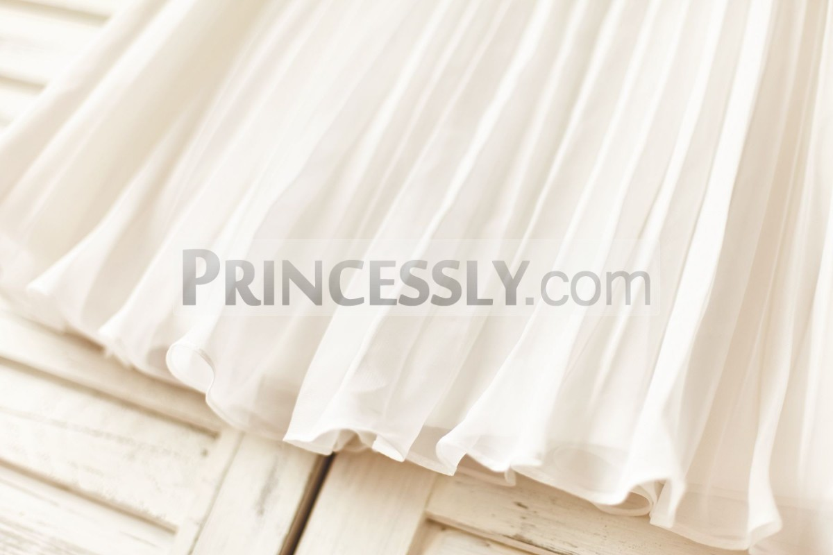 Pleated ivory chiffon dress