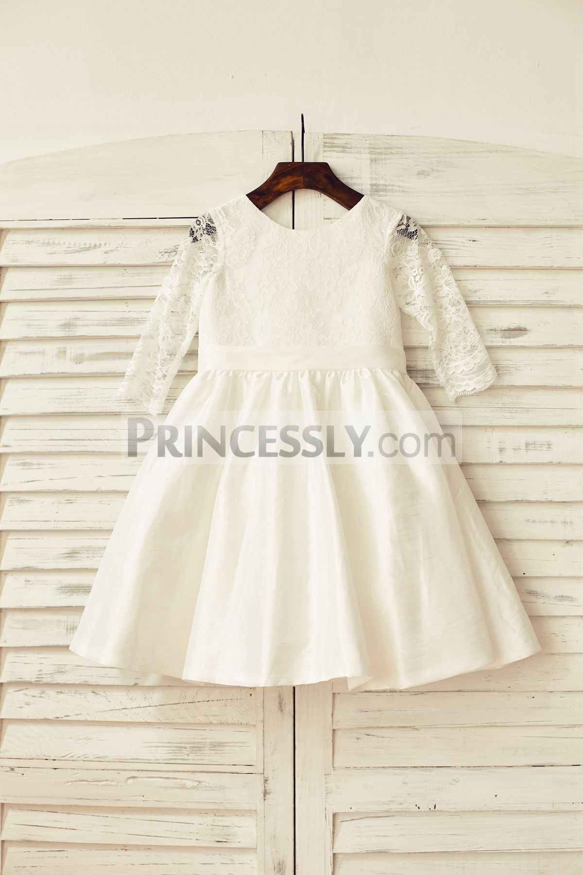 Ivory lace taffeta flower girl dress